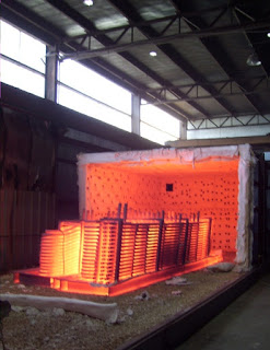 Red-hot metallic parts from furnace