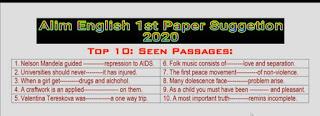 আলিম ইংরেজি ১ম পত্র সাজেশন ২০২০ | Alim English 1st Paper Suggetion 2020