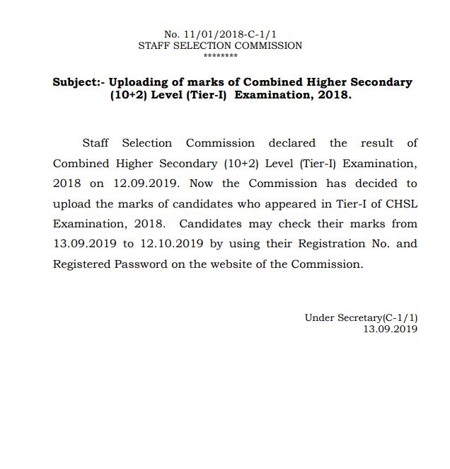 SSC CHSL Tier I Result 2019