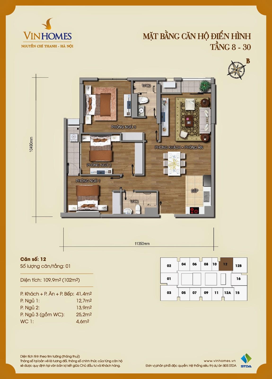 Mặt bằng chi tiết căn hộ 12 Vinhomes Nguyễn Chí Thanh