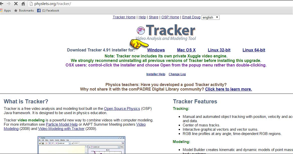 Software Tracker no Ensino da Física: Download e instalação do Tracker no Windows