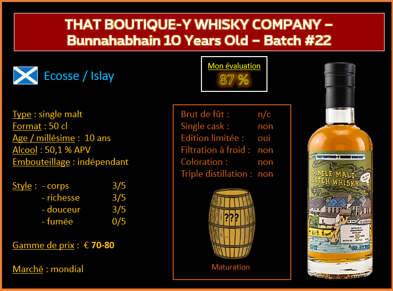 Review #827 : That Boutique-Y Whisky Company – Bunnahabhain 10 Years old – Batch #22