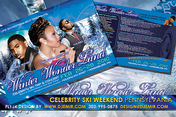 Winter Wonderland Pennsylvania Black Celebrity Ski Weekend Flyer Design Featuring Trey Songz Chrisette Michele and Musiq Soulchild Hosted By Comedian Capone
