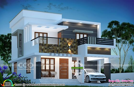 1615 square feet 3 bedroom modern flat roof house