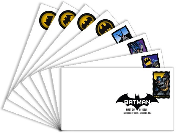 Eight envelopes fanned out with different Batman stamps, top one with Batman logo reading 'First Day of Issue'