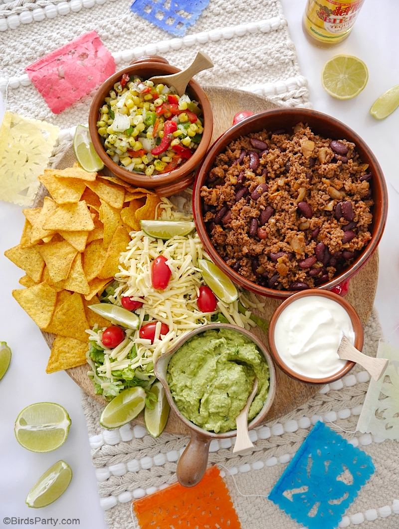 Ground Beef Taco Recipe and Taco Board - quick, easy and delicious to serve on Cinco de Mayo or any other celebration at home! by BirdsParty.com @birdsparty #recipe #tacos #groundbeef #beeftacos #cincodemayo #mexicanrecipe #tacoboard