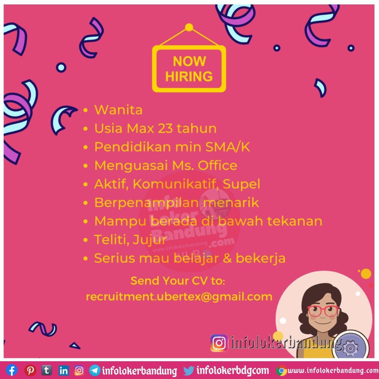 Lowongan Kerja Admin Gudang PT. Usaha Bersama Textile ( Ubertex ) Bandung Desember 2020