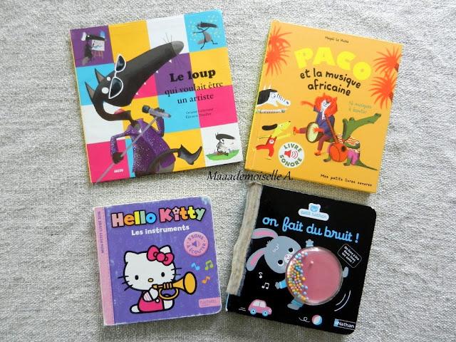 || Sélection de livres sur la musique : Le loup qui voulait être artiste - Paco et la musique africaine - Hello Kitty Les instruments - On fait du bruit