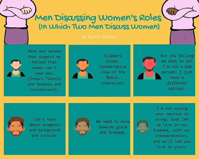 "comic strip describing two men having a discussion about women. First man says, ""here are verses that support my belief women can't lead men, insert Timothy and genesis and corinthians."" Second man says, ""let's talk about exegesis and background and culture."" First man says, ""slippery slope, conservative view of the Bible, literalist."" Second man responds, ""We need to move towards grace and freedom."" First man (who is red in the face) says "" are you telling me what to do? I'm not a bad person! I just have a different opinion."" Second man, now almost invisible in the picture, says ""I'm not saying your opinion is wrong. Just let us live in our freedom, with our interpretation, and we'll let you live in yours."" Above both men are pictures of women crossing their arms."