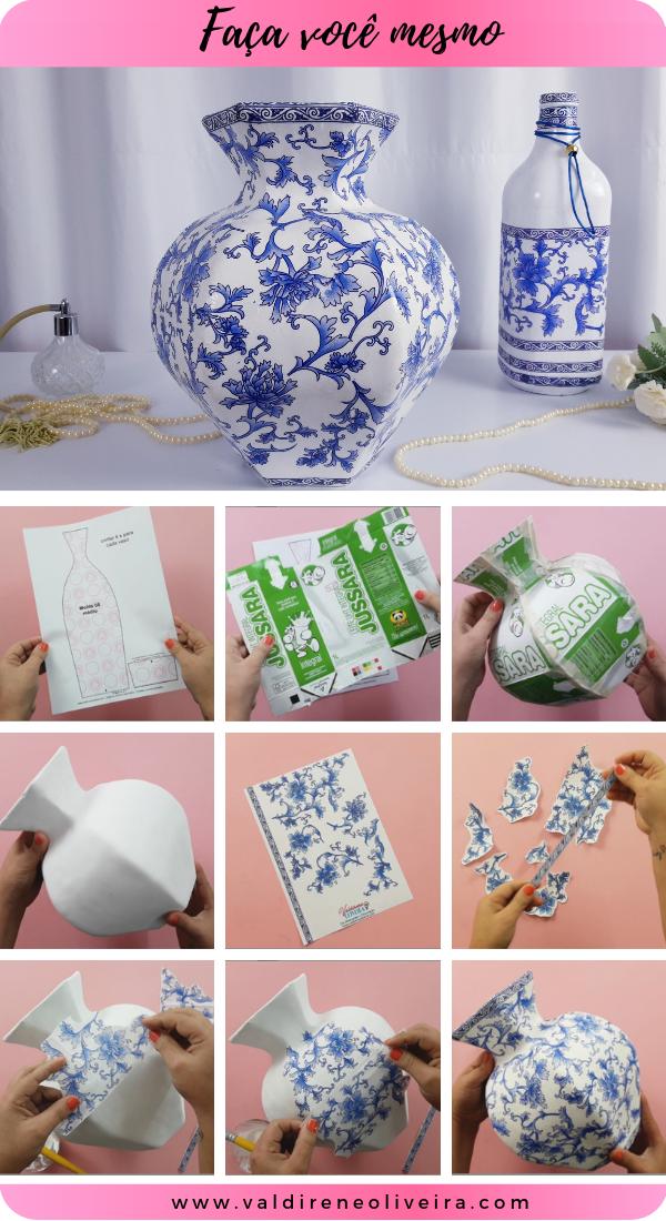 vasos decorativo feito com caixa de leite valdirene oliveira