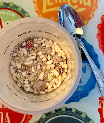 lid off Mr Lee's porridge pot, dry product on view