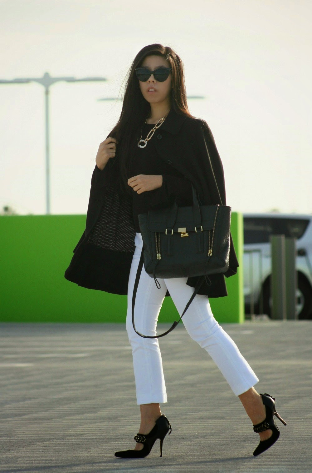 What to Wear to an Interview- Black Zara Coat with White Zara Cigarette Pants and 3.1 Phillip Lim Pashli Satchel