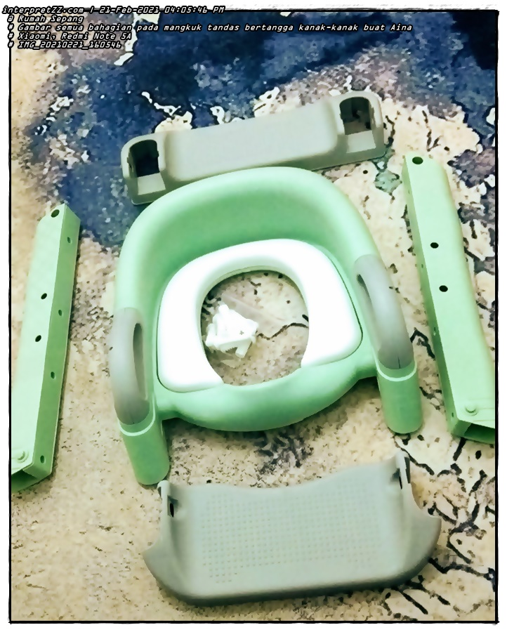 Pictures of all the parts on Aina's potty.