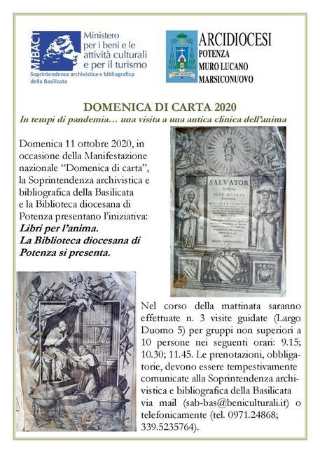 """La biblioteca di Potenza: l'11 ottobre iniziative per la """"Domenica di carta"""""""