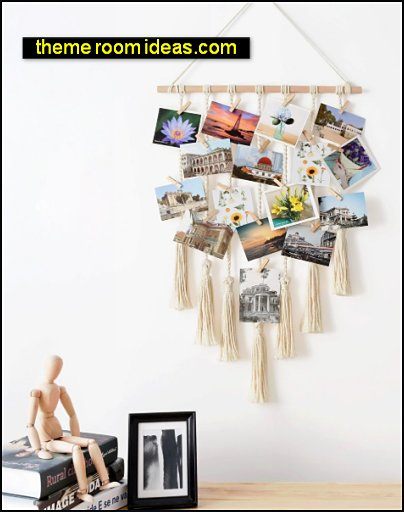 Hanging Photo Display Macrame Wall Hanging Pictures Organizer Boho Home Decor