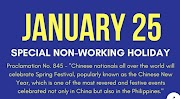 Special Non-Working Holiday on Chinese New Year January 25, 2020