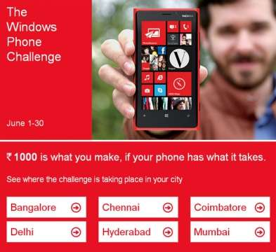 Windows Phone Challenge from Microsoft, dare you phone against Windows Phone and win Rs.1000.00