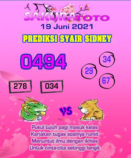 Syair Sakuratoto Sidney Sabtu 19 Juni 2021