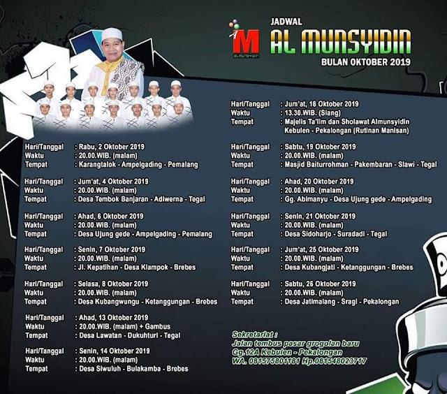 Jadwal Al Munsyidin Pekalongan Bulan Oktober 2019