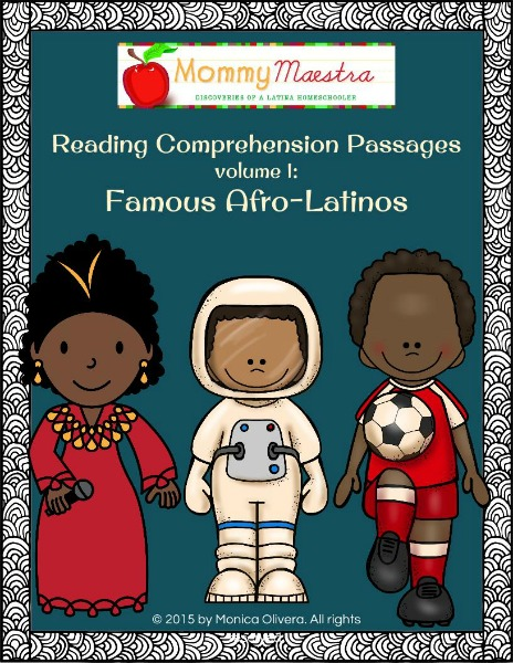 Mommy Maestra  Reading Comprehension Passages Vol 1  Famous Afro Latinos Reading Comprehension Passages Vol 1  Famous Afro Latinos