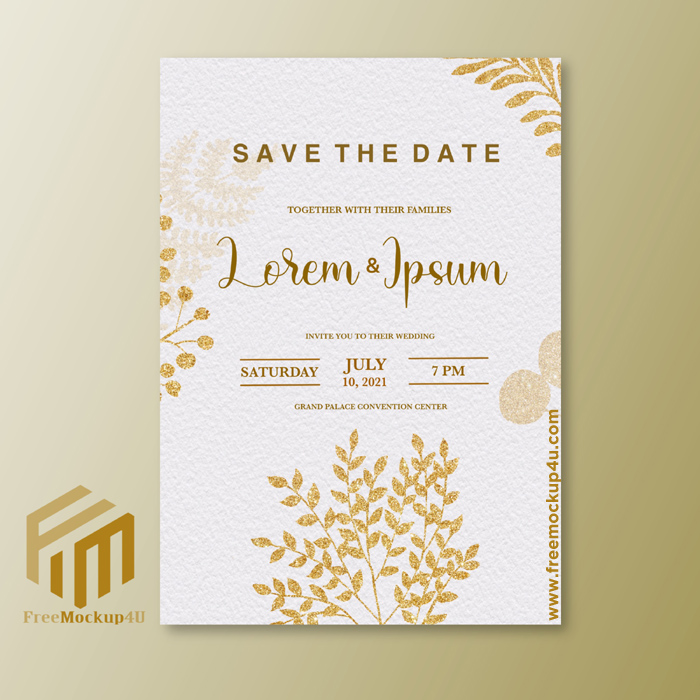 Minimalist Wedding Invitation With Gold Flower