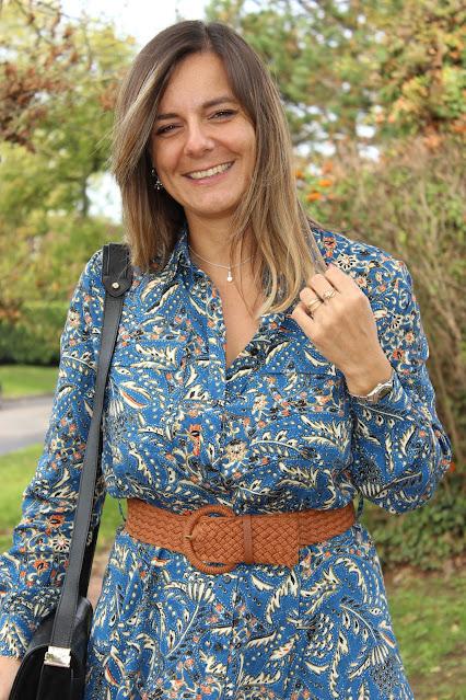 look robe Sézane, combo camel et bleu, look du jour, les petites bulles de ma vie