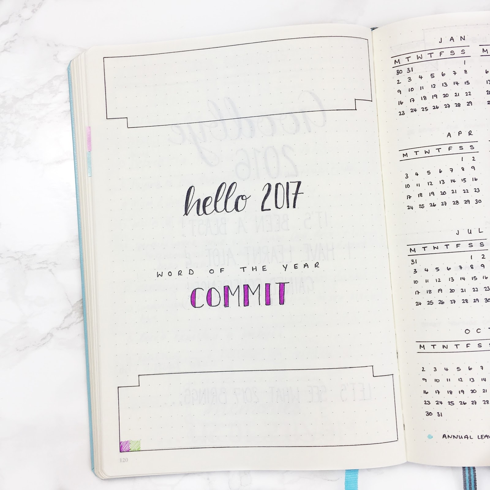 Bullet Journal 2017 Header Template