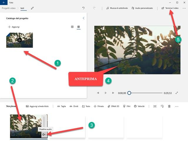azzerare audio in video con foto di windows