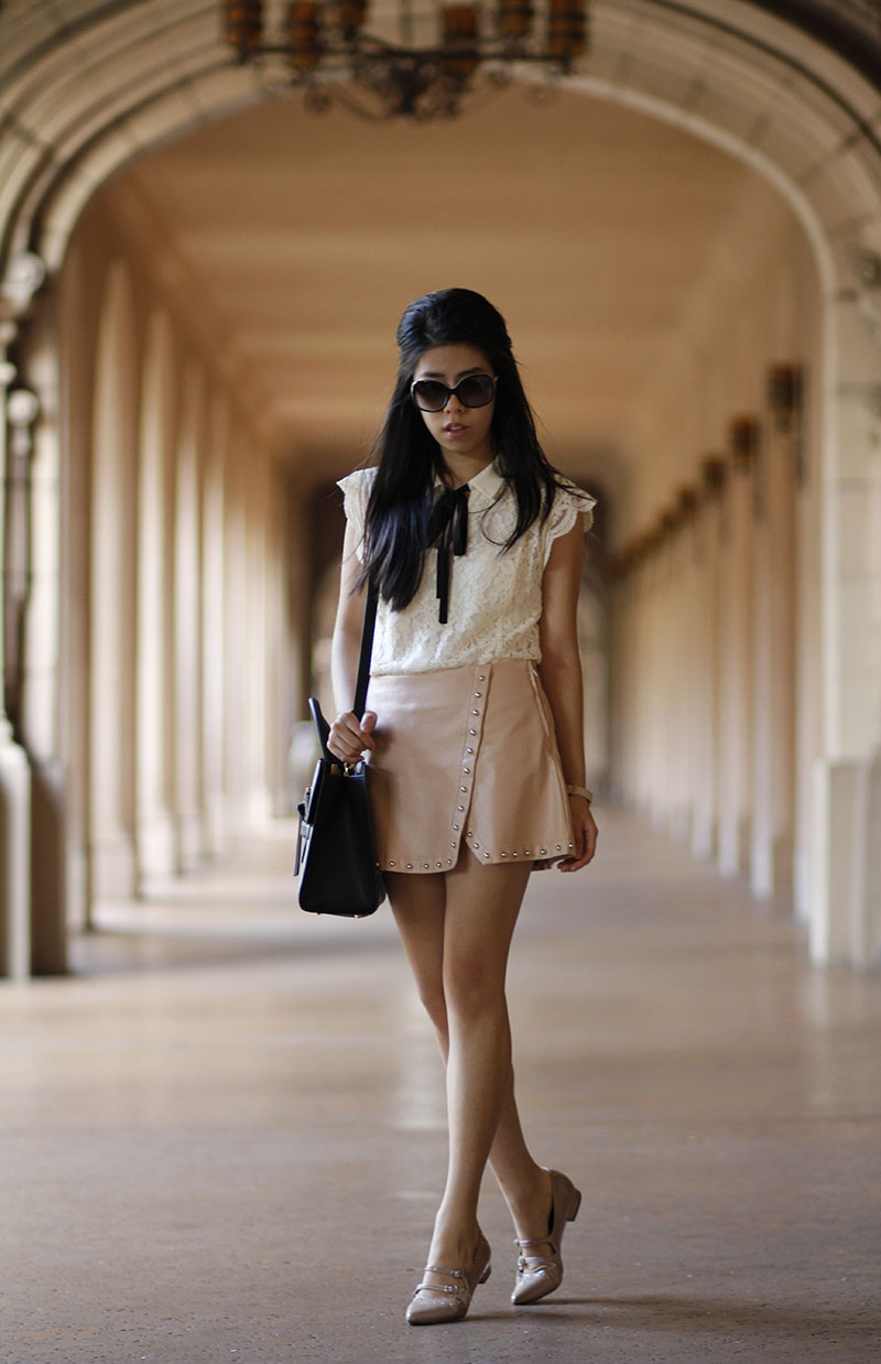 Adrienne Nguyen_Invictus_Pharmacy School Blogger_Banana Republic White Lace Bow Top with Pink Leather Skirt with Metal Studs