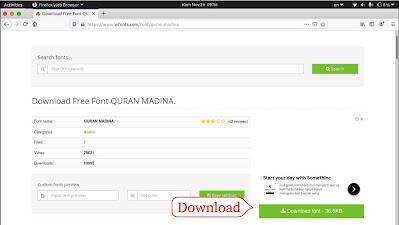 Download font Quran-Madina