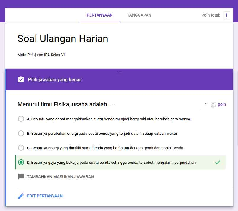 Cara membuat Soal Ujian/Ulangan Online dengan Google Formulir