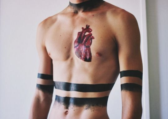 red heart Chest Tattoos For Men