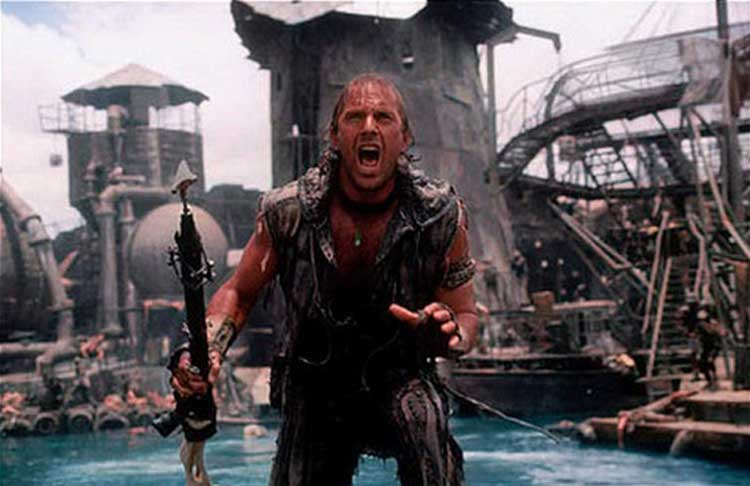 Kevin Costner stars as The Mariner in Waterworld.