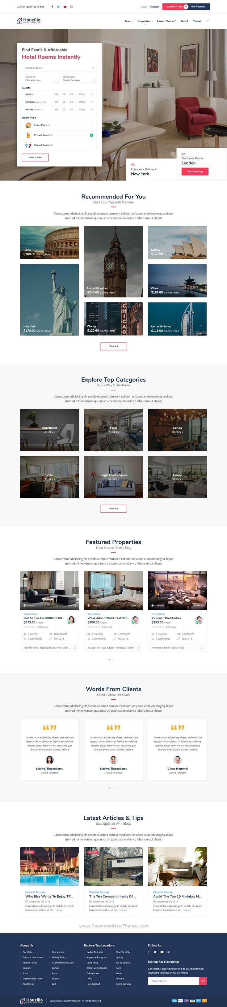 Bookings and Rental WordPress Theme