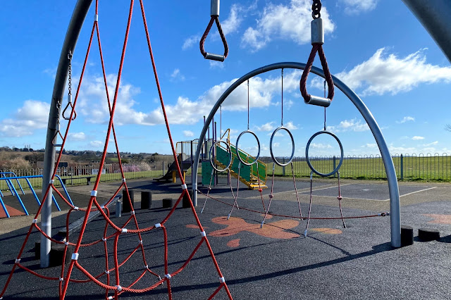 Closer up view of climbing equipment and ropes at Jessel Green playground Loughton