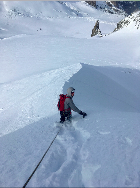 Descending down back on the glacier