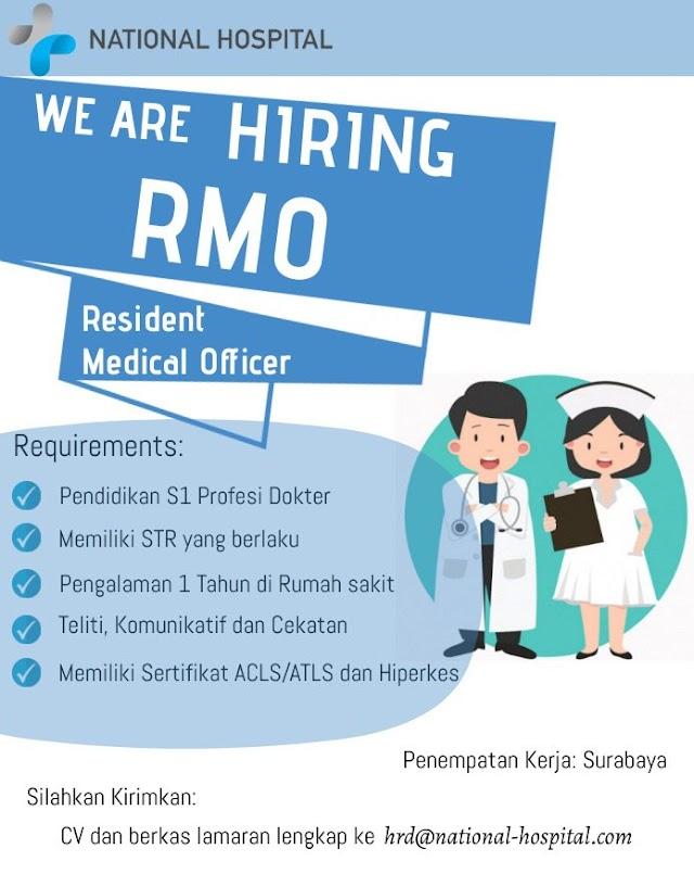Loker Dokter: Resident Medical Officer (RMO) National Hospital Penempatan Surabaya