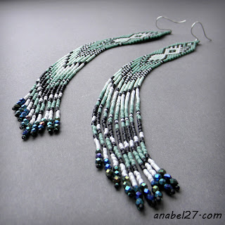 extra long seed bead earrings beadwork ethnic