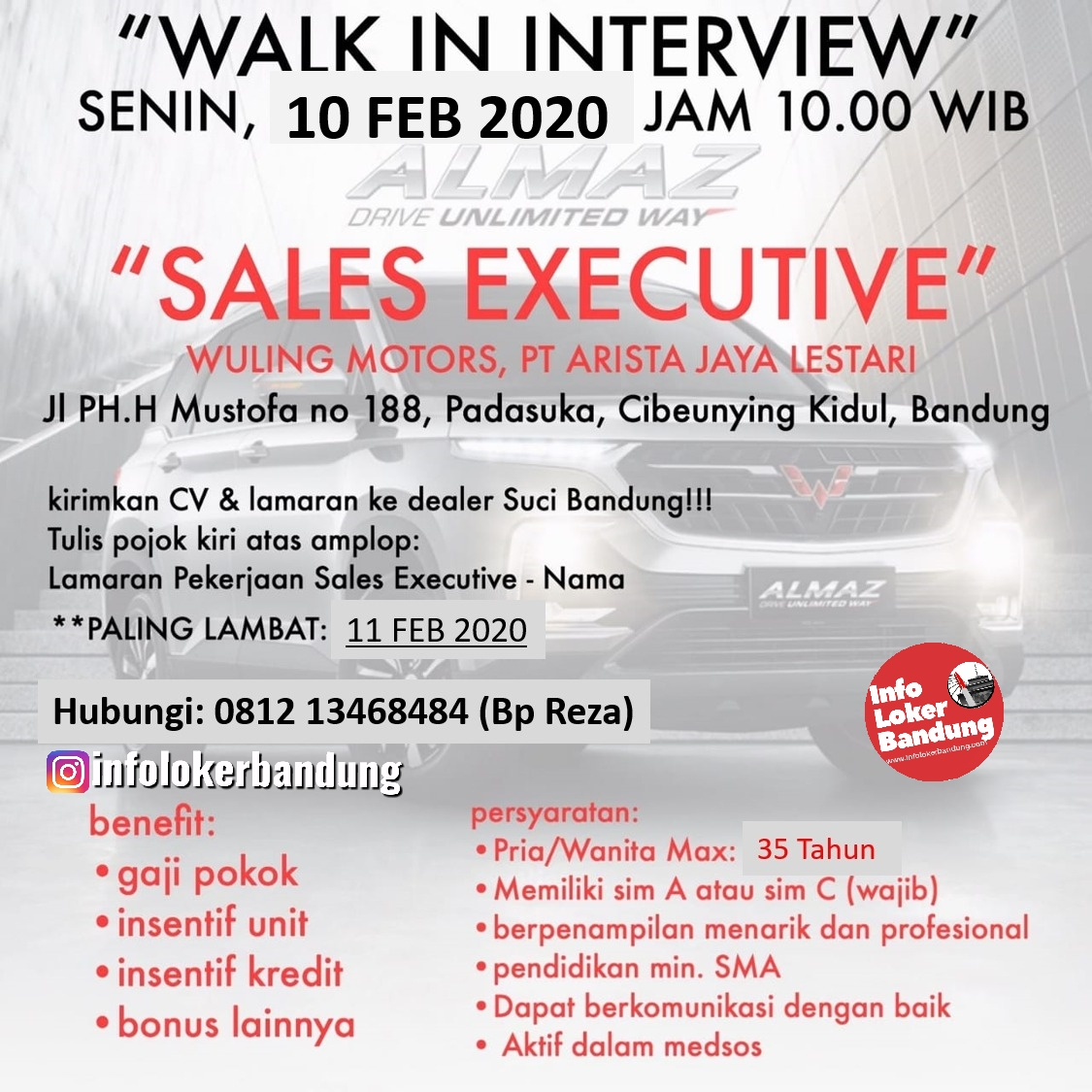 Walk In Interview PT. Arista Jaya Lesatri ( Wuling Motors ) Bandung 10 Februari 2020