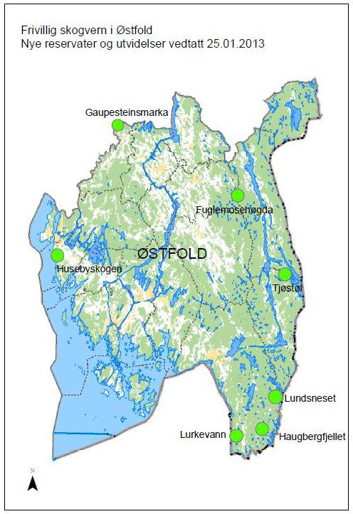kart østfold Naturnytt Østfold: Syv nye skogområder fredet i Østfold kart østfold