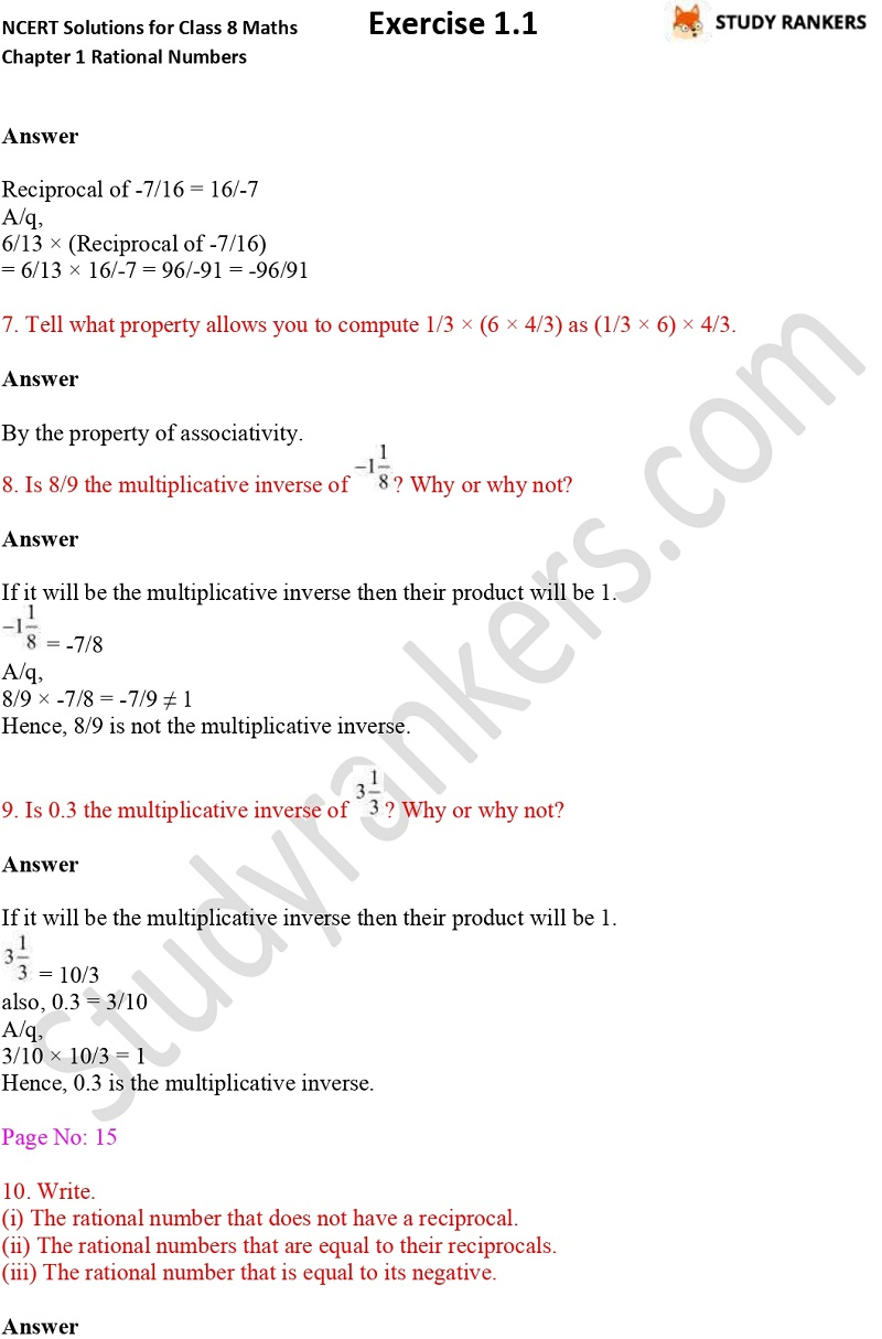 NCERT Solutions for Class 8 Maths Chapter 1 Rational Numbers Exercise 1.1 Part 3