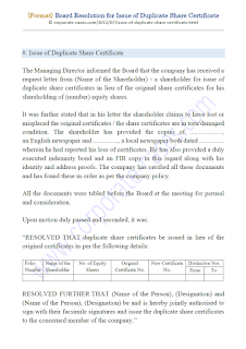 board resolution format for issue of duplicate share certificate