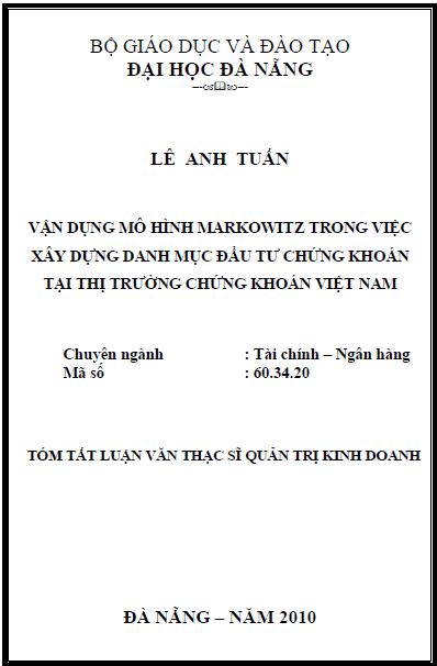 Vận dụng mô hình Markowitz trong việc xây dựng danh mục đầu tư chứng khoán tại thị trường chứng khoán Việt Nam