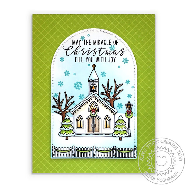 Sunny Studio Blog: May The Miracle of Christmas Fill You With Joy Handmade Card (using Christmas Chapel, Christmas Home, Inside Greetings Christmas Stamps, Sunny Semi-Circle Dies & Classic Sunburst Paper)