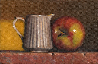 Still life oil painting of a fluted ceramic jug beside an apple.