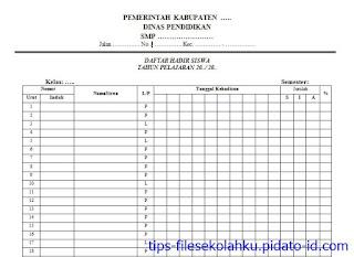 format daftar hadir siswa dengan persentase kehadiran