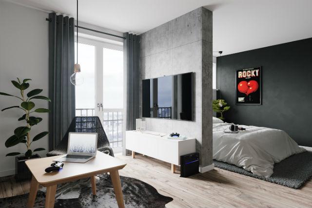 decorar un apartamento low cost con estilo, salón y cocina. Zona TV