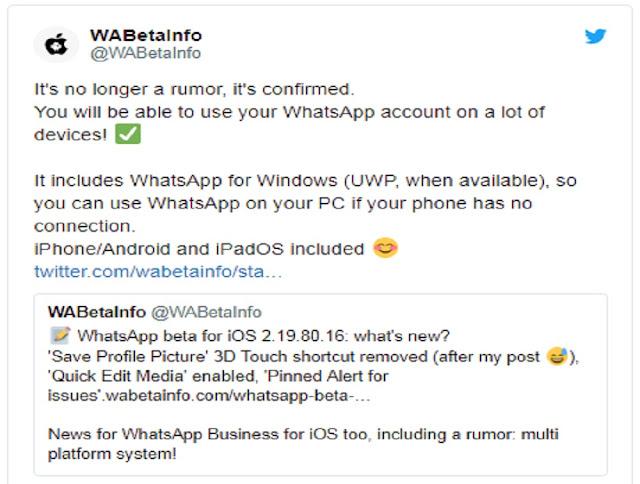 Ternyata Satu Akun WhatsApp Bisa Digunakan Secara Bersamaan Untuk Banyak Perangkat, Berikut Penjelasannya