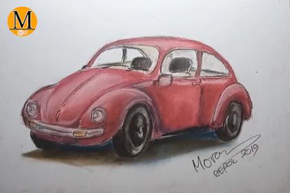Menggambar Bentuk Mobil VW Menggunakan Pastel