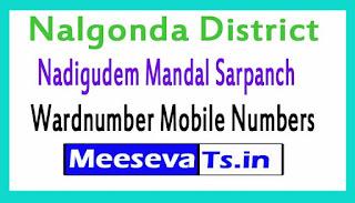 Nadigudem Mandal Sarpanch Wardmumber Mobile Numbers List Part II Nalgonda District in Telangana State